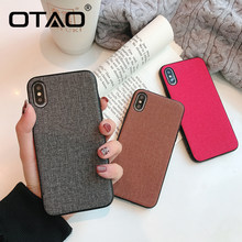OTAO Fabric Ultra thin Canvas Phone Case For iphone 7 8 6 6s Plus X XS Max XR PC Case Cloth Texture Soft Protective Cover Coque(China)