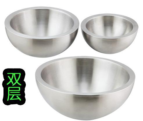 Stainless steel salad bowl double-layer steel thickening Fruit bowl bowl  Use the kitchen food bowl free shipping 726659839