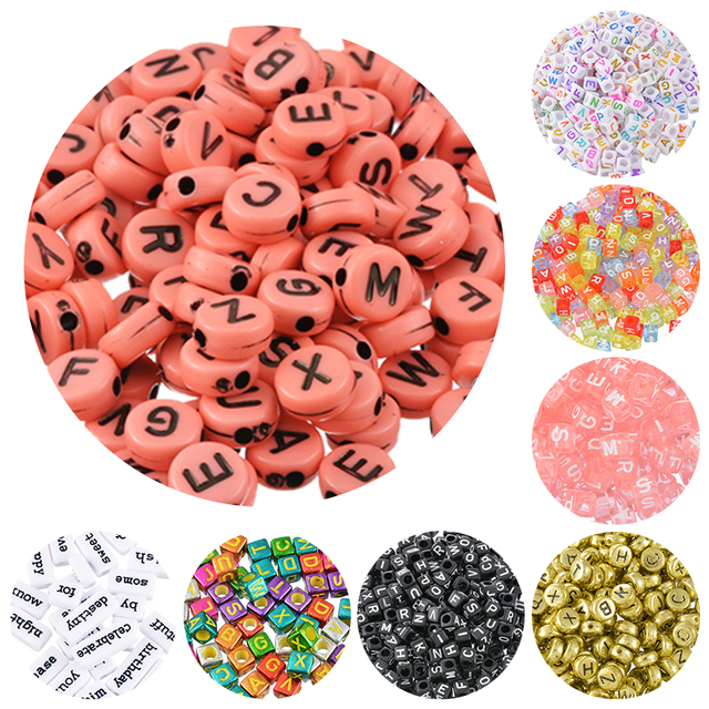 20-1000 Alphabet Beads Acrylic Bead Letter Handmade DIY Letter Beads For Bracelet Pacifier Clip Jewelry Accessories Random Mixed