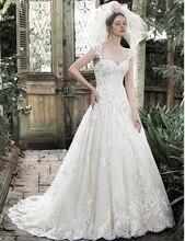 Custom made Elegant Outdoor Wedding Dresses Sweetheart Cap Sleeve Lace add Pearls Vintage Vestido de Noiva 2017 Wedding Dress