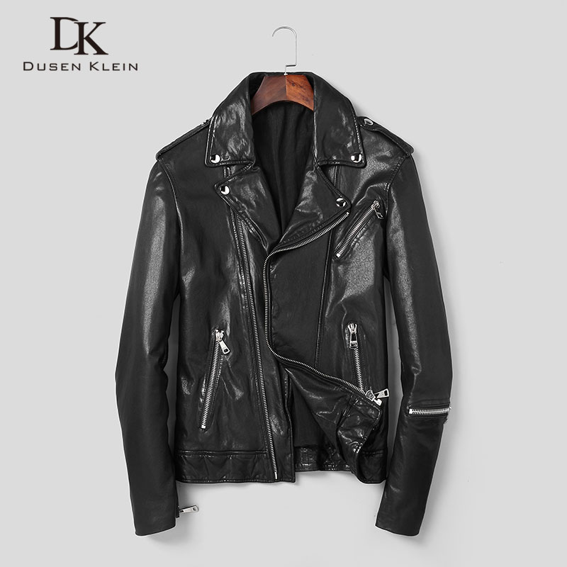 Men Genuine Leather Jacket Real Sheepskin Jackets Casual Short Black Pockets 2019 Autumn New Jacket For Man Washed Leather S1059