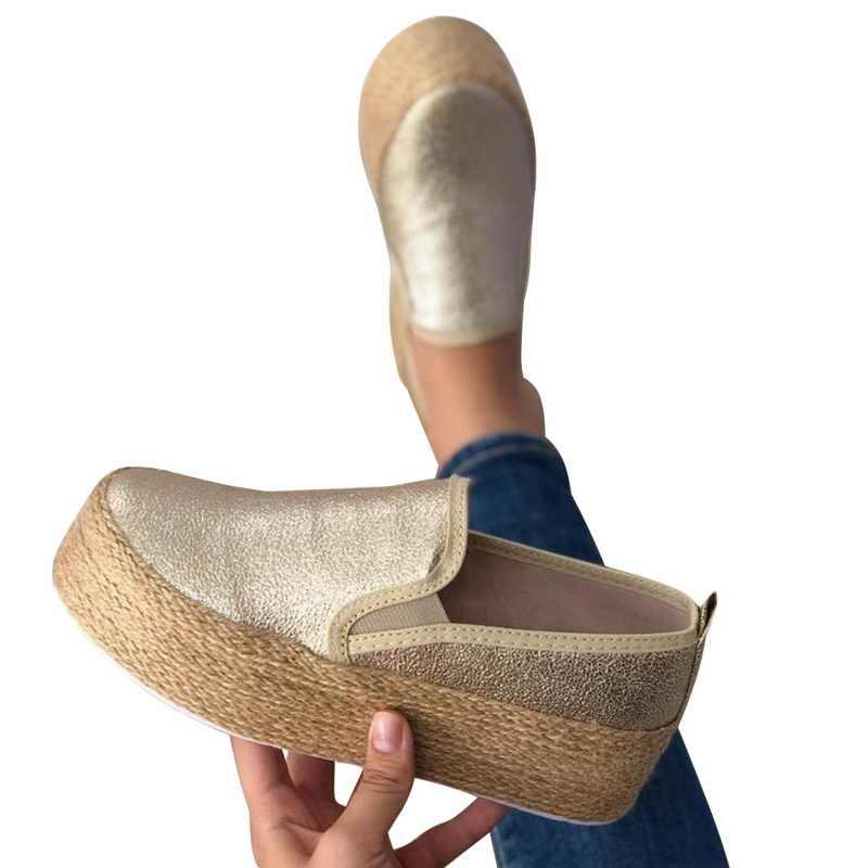 SHUJIN zapatillas de deporte blancas zapatos de Mujer de Primavera de cuero grueso de fondo de encaje de Mujer planos de punta redonda plataforma baja Casual Mujer 2019