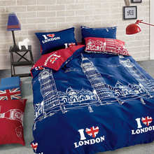 2016 New reversible Bedding set 4 Pcs British style Bed sets Use of both sides Duvet cover Bedsheet Pillowcase Home textile
