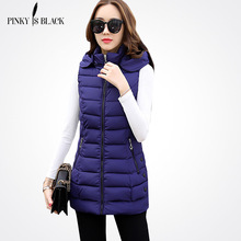 Pinky Is Black 2017 New Winter Casual Cotton Vest Women Sleeveless Hooded Jacket Coat Colete Feminino Waistcoat Plus Size 3XL цена