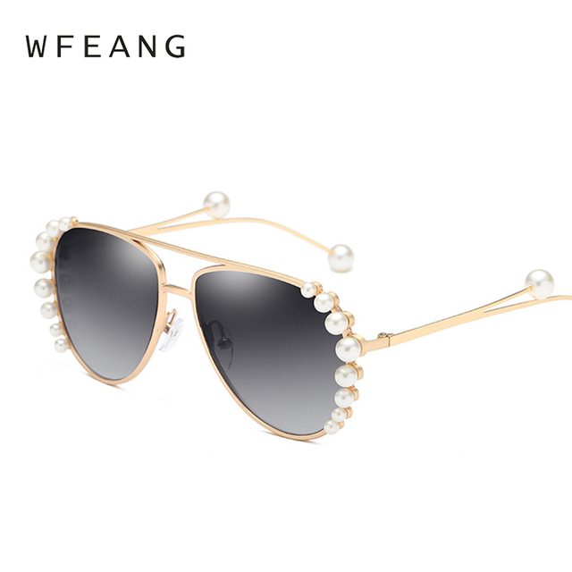 3c1d4aa0a96 WFEANG Luxury Round Pearl Sunglasses Women Trends Driving Vintage Brand  Design Sun glasses Gold Frame Fashion Gradient Lens