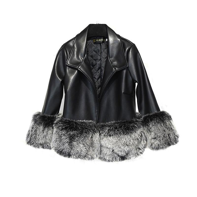Leather Jacket Full Jacket Women Hot Sale 2017 New Imitation Fur Large Size Stitching Fox Was Coat Autumn And Winter Fake 3xl