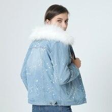 brand 2017 autumn winter jacket coat women Holes Denim jacket real large raccoon fur collar and real Fox fur thick warm Liner