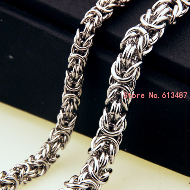 """Fashion men's jewelry trendy stainless steel byzantine chain necklace link chain 7""""-40"""" 6/8mm Free Choose Xmas Gift"""