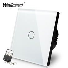 EU UK Standard Wallpad di Lusso Bianco di Tocco di Cristallo di Vetro 1 Gang Interruttore Della Luce di Telecomando di Trasporto libero