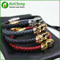 North skull bracelet for men made of stainless steel skull bracelet genuine leather accessories wholesale BW0117