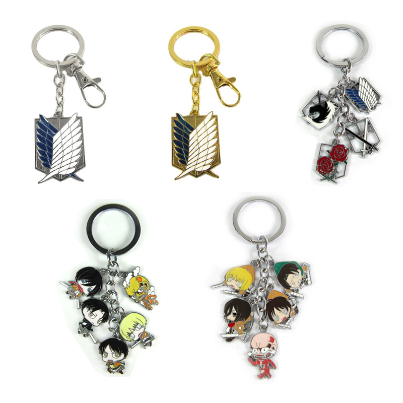 Japan Anime Attack on Titan Action Figure Toys High Quality Keychain Pendant Metal Model Keyring for Kids toy Gift