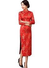 Shanghai Story chinese traditional clothing chinese style dresses long Cheongsam Long Sleeve Red Dragon Qipao For Women