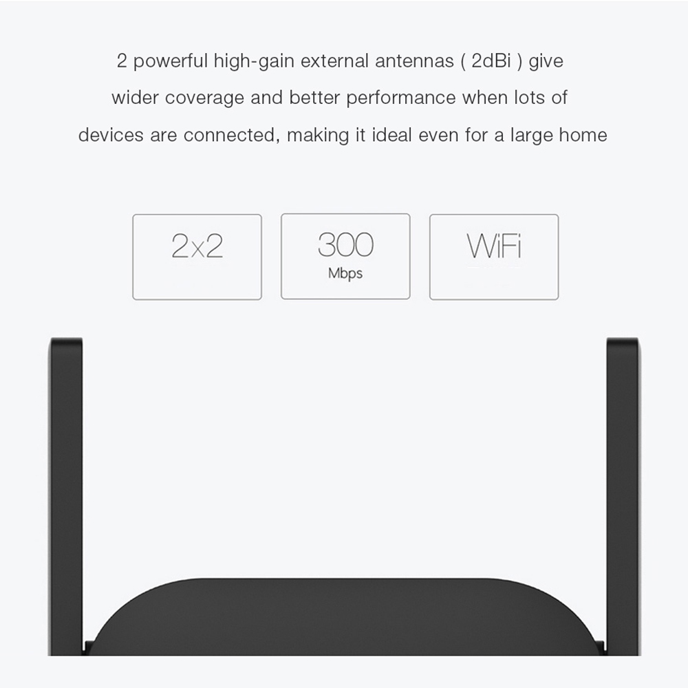 Xiaomi Mijia WiFi Repeater Pro 300M Mi Amplifier Network Expander Router Power Extender Roteador 2 Antenna for Router Wi-Fi 4