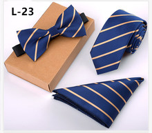 32 Colors 8cm Mens Tie Bow Pocket Square  Suit Necktie Set Wedding Party Formal Dress Banquet Groomsmen Men Gift