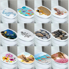 1PCS Cute funny cartoon toilet waterproof WALL STICKERS  cover PVC decorative stickers creative paste for