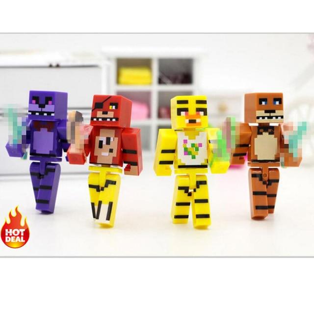 Minecraft Brinquedos Figuras 4 pçs/set Cinco Noites No Freddy Freddy Bonnie Chica Foxy FNAF 4 das Figuras de Ação Brinquedo do Miúdo presentes # E