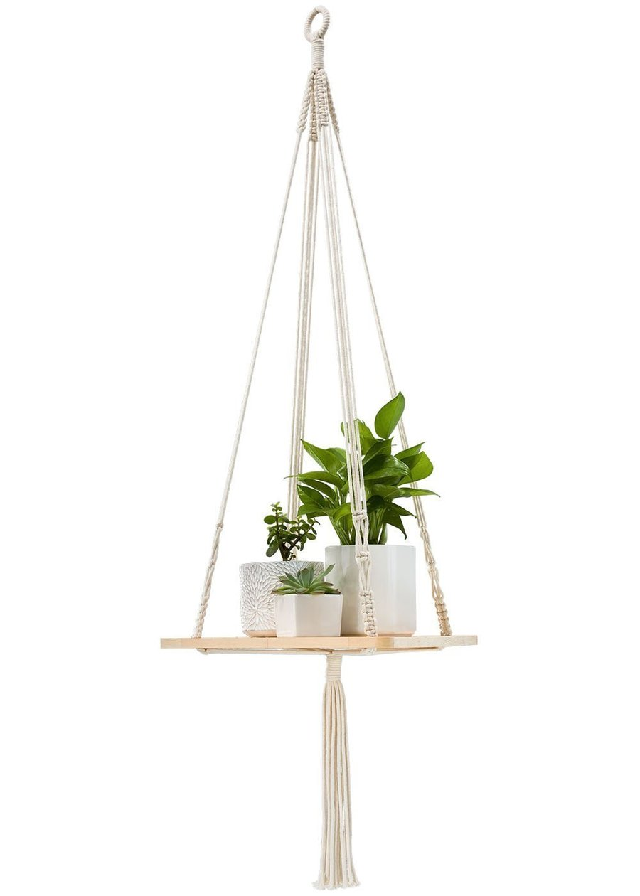 100% Handmade Macrame Shelf Hanging Planter Plant Hanger ... on Plant Stand Hanging  id=33992