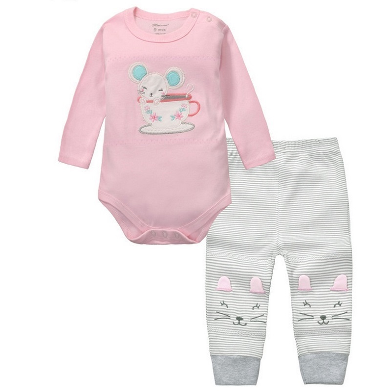 2 дана Baby Girls Boys Clothes Set Long Sleeve Rompers And Shirt Roupa Infantil Menina Menino Bebe Жаңа туылған нәрестелер Қытай KF092