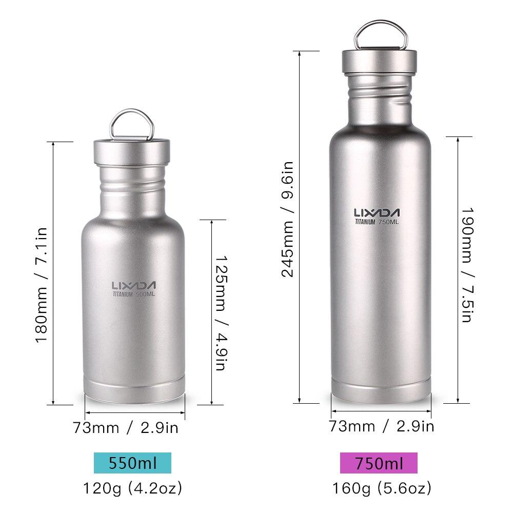 Image 5 - Lixada 500 мл/750 мл титановая бутылка для воды Сверхлегкая пластиковая крышка кемпинг на природе, езда на велосипеде бутылка с водой Посуда-in Столовые приборы для пикника from Спорт и развлечения