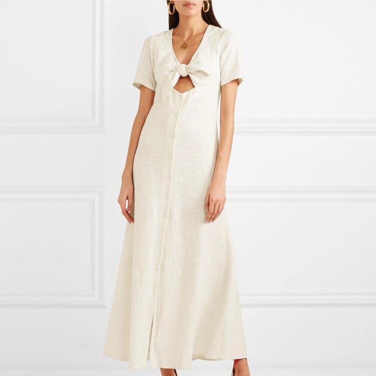 Nouvelle robe de printemps poitrine en chanvre tricotée avec nœud noué taille longue robe de vacances bouton court a-ligne tenue décontractée vêtements pour femmes