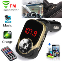 LCD Car MP3 MP4 Player Wireless FM Transmitter Modulator SD/ MMC Card Remote Modulator HandsFree USB Charger For iPhone Samsung