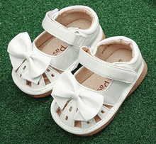 little girls squeaky shoes squeakers 1-3 years kids handmade bow ribbon half sandals summer nina sapatos fun baby white