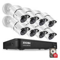 ZOSI système de caméra de sécurité 8ch système de vidéosurveillance DVR kit de bricolage 8x1080 P caméra de sécurité 2.0mp caméra système de Surveillance 2 to HDD