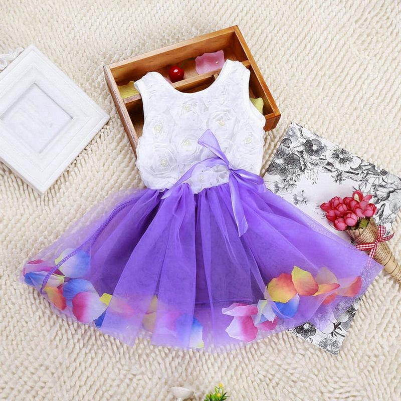 Платье для маленьких девочек, платье принцессы для девочек, кружевное платье с бантом и цветочным принтом, детская одежда, летняя одежда для...