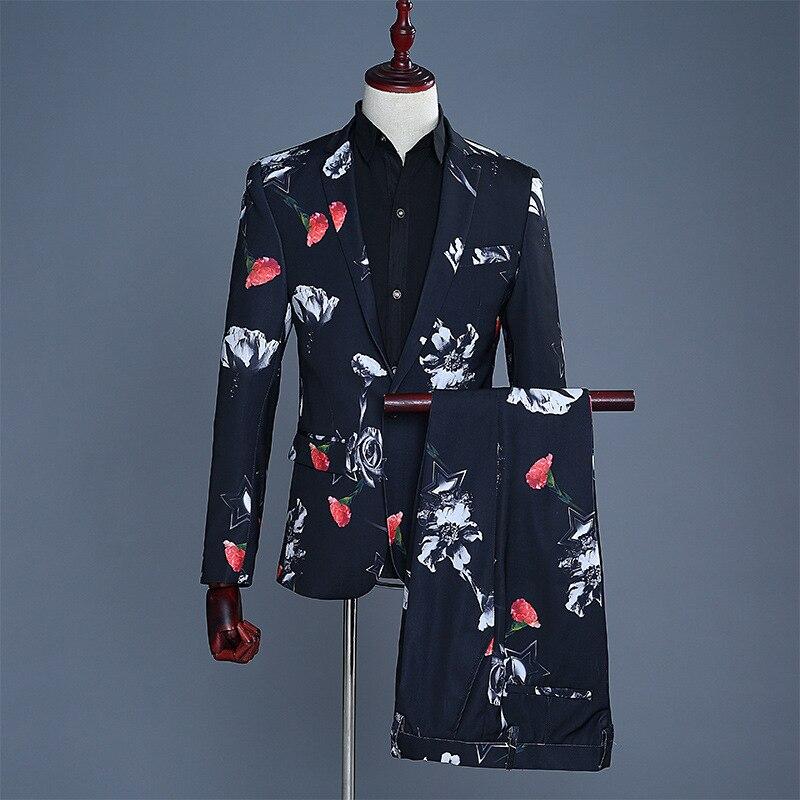 Men's Printed The Groom Dress Suit Mens Suits 2 Piece Suits Men Coat Pants Black Single Breasted Skinny Suits Men