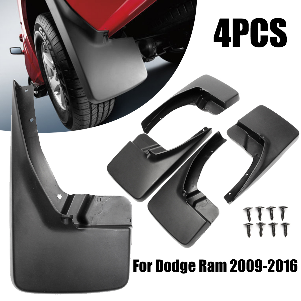 4Pcs Black Molded Splash Guards Mud Guard Flaps Front and Rear Protector Mudguards for Dodge Ram 1500 2009-2017 for ford explorer 2013 2018 plastic more fashion front rear mud guard mudguards splash flaps cover protector trim 4 piece