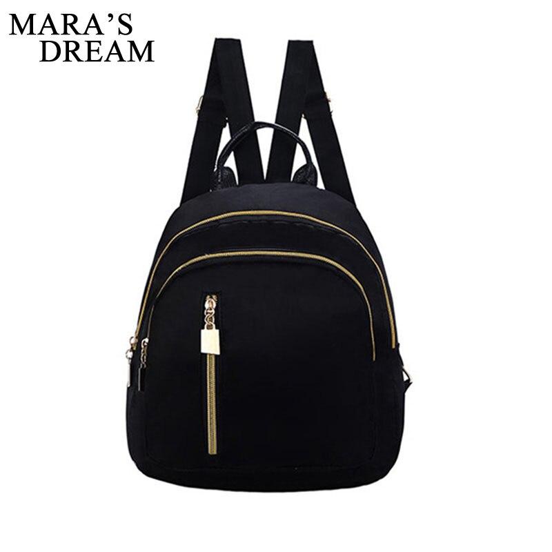 Mara's Dream Small Waterproof Oxford Women Backpack Fashion Black Shoulder Back Bag Preppy Style Backpacks for Teenage Girls