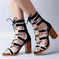 Black Strappy Real Leather Women Shoes Gladiator Sandals Lace up Thick High Heels Sandal Chunky Women Pumps Dress Shoes Woman