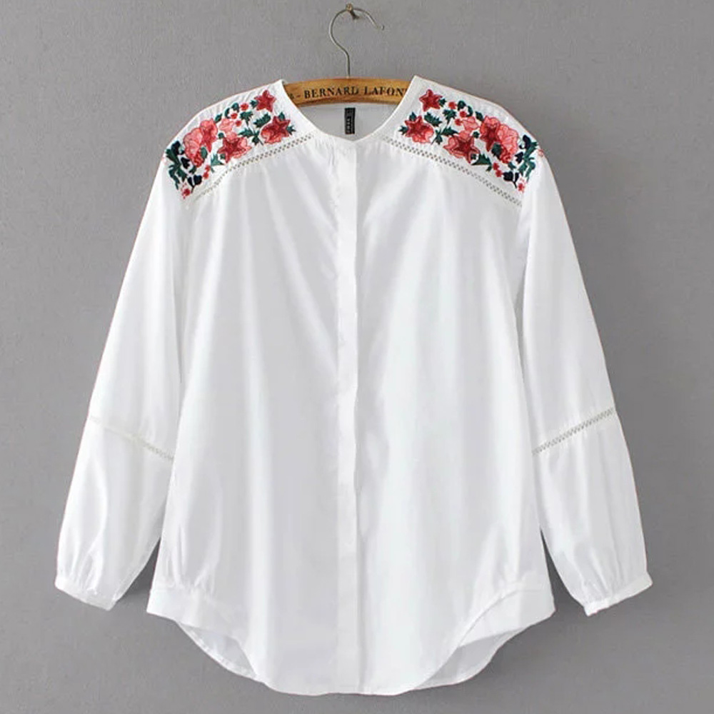 FIRSTTO Stylish Shoulder Floral Embroidery Shirt Patchwork Hollow Out Loose Blouse Tops  ...