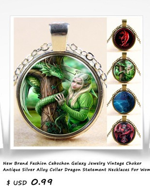 New-Brand-Fashion-Cabochon-Galaxy-Jewelry-Vintage-Choker-Antique-Silver-Alloy-Collar-Dragon-Statement-Necklaces-For