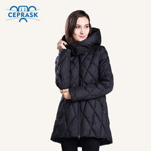 CEPRASK 2018 New Winter Jacket Women Plus Size Fashionable Women's Winter Coat Hooded High Quality Warm Down Jacket Parka(China)