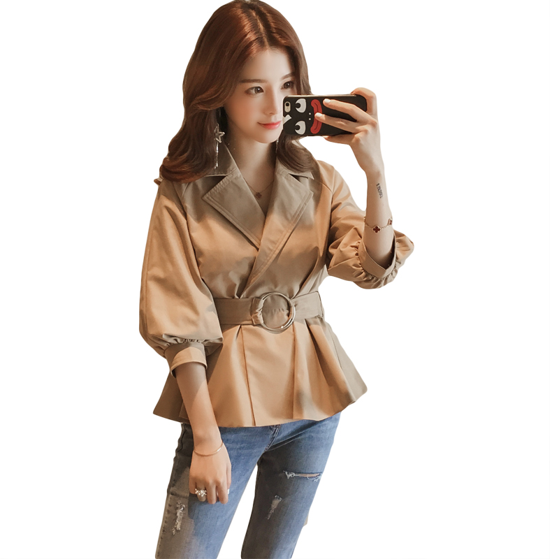 Elegant Women Spring Autumn Short   Trench   Coat 2019 New Fashion Belt Match Cloak Polerones Mujer Windbreaker Female Abrigo CM245