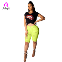 White Shredded High Waist Jeans Ripped Jeans For Women 2019 Summer High Street Casual Short Pencil Pant High Waisted Short Jeans