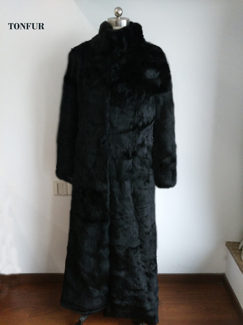 Mandarin Collar Whole Skin Genuine Rabbit Fur Coat Super X Long 140cm Overcoat Wholesale and Retail Customize Plus Size WSR98
