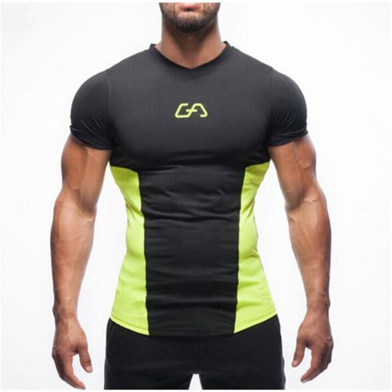 2017 New men   T  -  shirt   Tights Fitness Quick Dry Casual Stretch Top Tee   Shirt   gyms Fitness Plus Size Hot Sale m-xxl