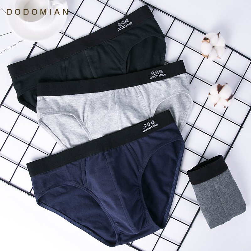 New Men's Briefs Male Underwear Cotton Men Solid Underwear Sexy Underpants 4pcs\lot DODOMIAN Plus Size Young Gay Cuecas