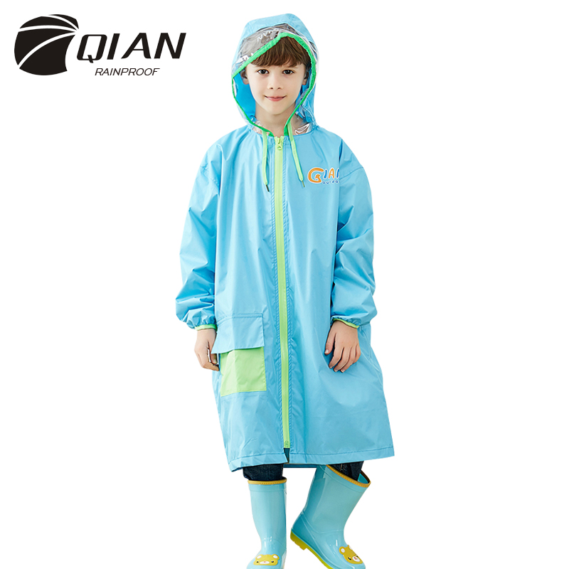 QIAN RAINPROOF Kids Rain Coat With Sleeves Flowering In Rain Children Rainwear Hidden Schoolbag Rainsuit Big Brim Raincoat