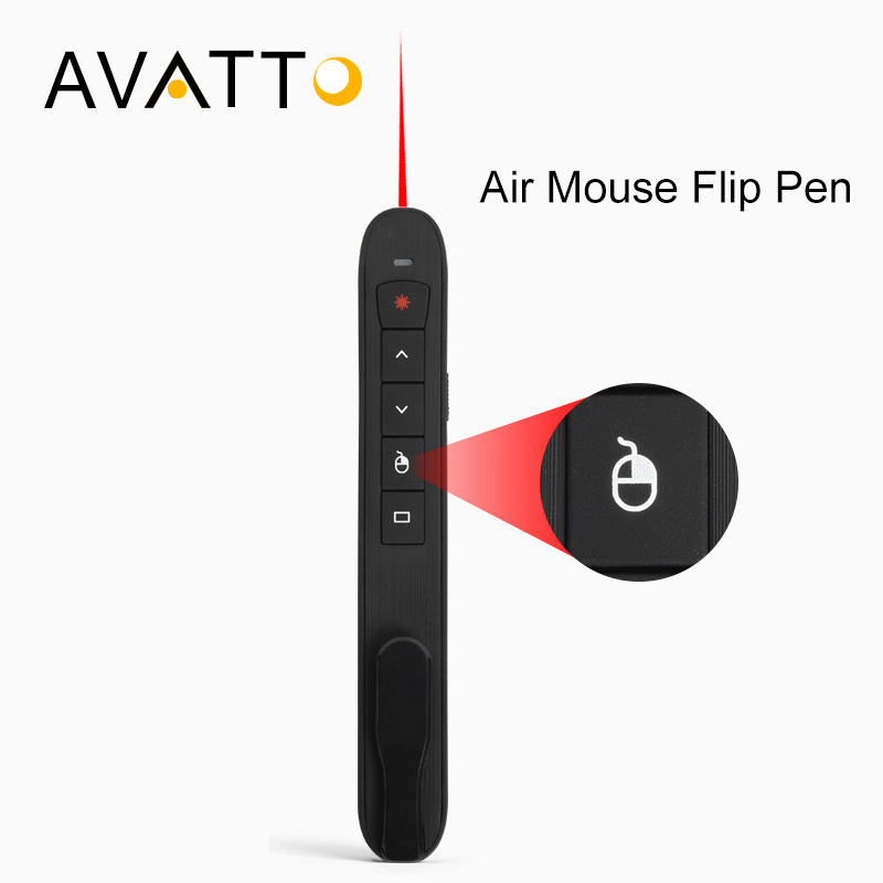[AVATTO] High-Quality RF 2.4GHz USB Air Mouse Rechargeable PowerPoint Remote Control PPT Clicker Presentation Pointer Laser Pen