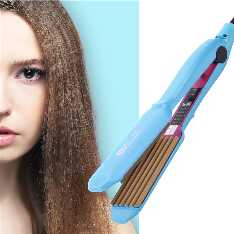 Professional Temperature Control Electronic Hair Straighteners Curlers Corrugated Crimper Waves Chapinha Straightening Iron 467