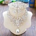 Девушка кристалл ювелирные наборы ожерелье + серьги + тиара ясно горный хрусталь корона невесты пром ювелирные изделия шеи свадьба аксессуары FQH01