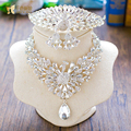 Girl crystal jewelry sets necklace+earring+tiara clear rhinestone crown bride jewelry prom neck wedding Party accessories FQH01