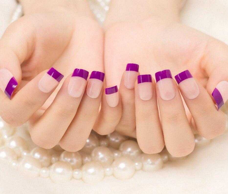 Online Shop 24Pcs/Set Natural Purple Artificial Fake Nails Tip Full ...