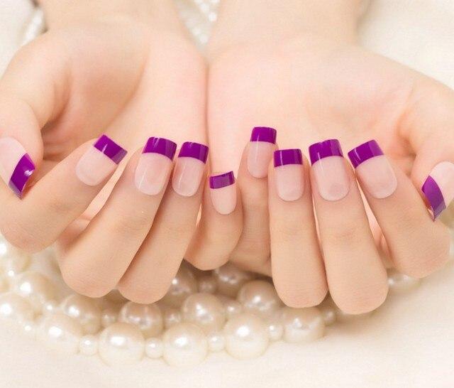 24pcs Set Natural Purple Artificial Fake Nails Tip Full Cover False Tips Stickers Finger