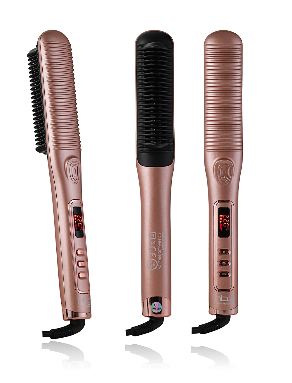 HTG 110-220V Ions Comb Ionic Steam Iron Hair Straightener Straightening Iron Brush Perfect Styler LED Display HT104