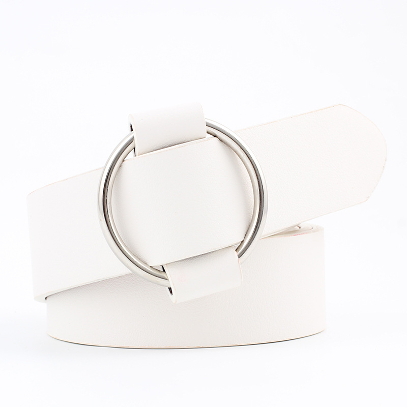 Модный классический круглый ремень с пряжкой, Женский широкий ремень, дизайн, высокое качество, Женские повседневные кожаные ремни для джинсов kemer - Цвет: Style 2 White