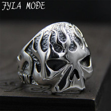 FYLA MODE 2017 S925 Sterling Silver Cool Motorcycle Biker Fire Skull Ring Special Fashion Jewelry 23MM Width 15.50G PBG058